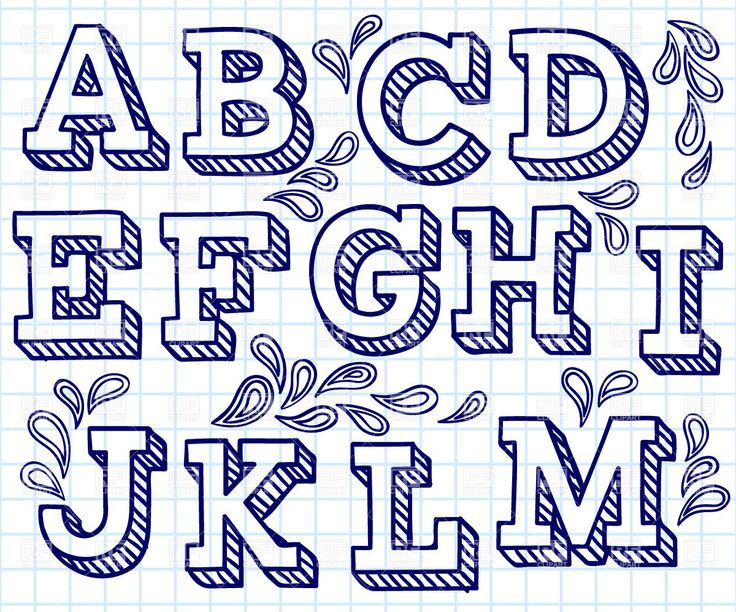 hand lettering font free | Hand drawn font - shaded letters and decorations, 29198, download ...