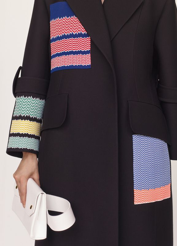 Celine added couture knitted squares detailing on a jacket , upcycle your old coat or jacket using quick easy granny knit squares great use for wool odd balls and scraps make a nice folk style design for denim and thick skirts too