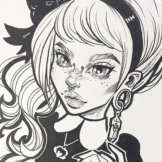 "Close crop of ""Claudia""  Would you guys be interested in prints of this babe? I'm tempted to make some ... #graphicartery #art #artist #artwork #sketch #drawing #illustration #tattoo #freckles #occult #longhair #art_spotlight #art_empire #artcollective #ink #tattoos #artistsoninstagram #artoftheday #myart"