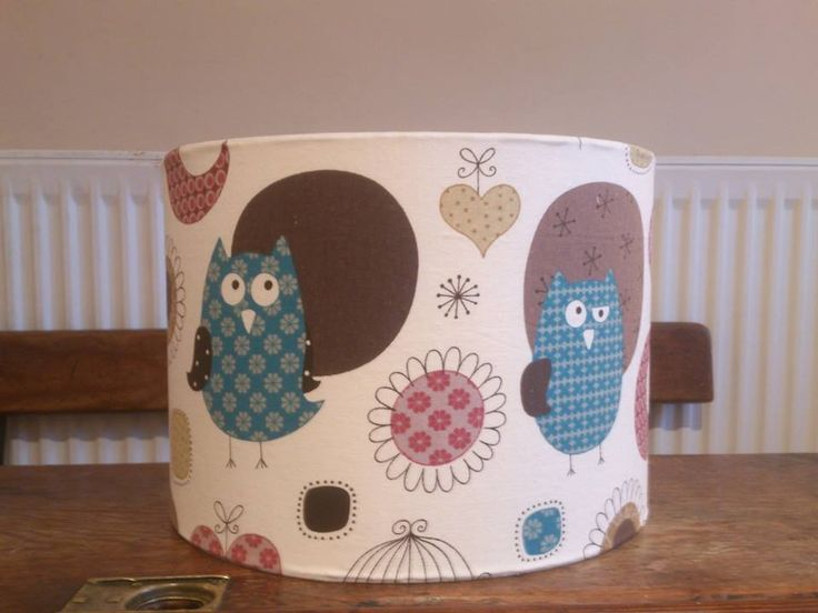 Blue owl fabric covered lampshade www.facebook.com/lindaoriordandesigns