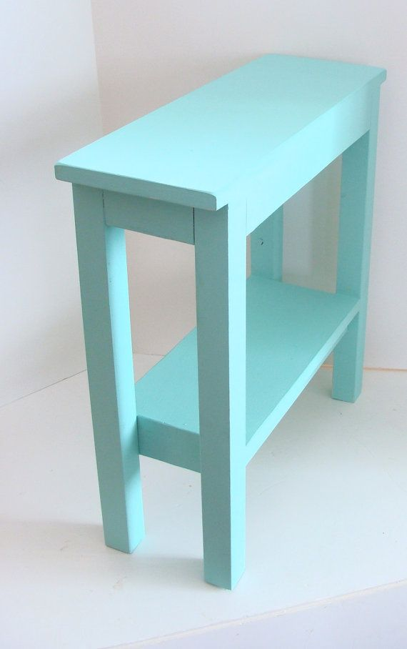 Narrow Side Table Painted Furniture End Table Wood Table Aqua Blue Beach Cottage Decor
