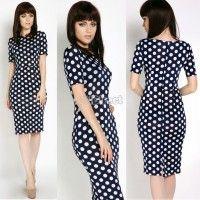 Fashion Women's Polka Dots Pencil Dress Round Neck Bodycon Stretch Business Spotted OL Party Midi Dress
