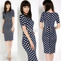 Fashion Women's Polka Dots Pencil Dress Round Neck Bodycon Stretch Business Spotted OL Party Midi Dress
