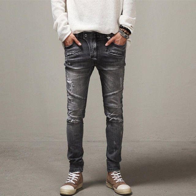 Men Slim Jeans Biker Jeans Hiphop Pants Pencil Pants