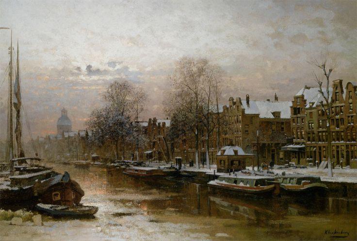 Snow covered barges on the Singel Amsterdam - Johannes Christiaan Karel Klinkenberg (1852-1924)