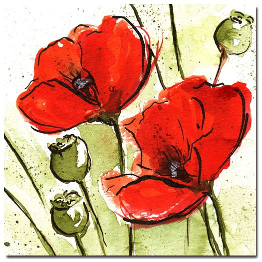 Abstract Poppy Stems, Original (Square) on canvas Price: $25 Ships worldwide    http://www.thecanvasartfactory.com.au    #art #nature #flowers #red #green #canvas #design #home #wallart