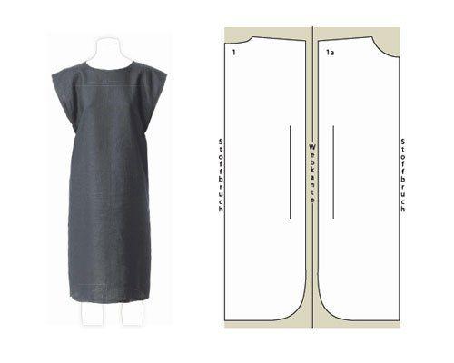 """schwarzes Kleid Schnittzeichnung Das luftige Leinenkleid nähen wir wadenlang und kastenförmig - mit Rundhalsausschnitt, bedeckten Schultern, weiten Armlöchern und Schlitzen im Rockteil. <a href=""""/wohnen/selbermachen/leinenkleid-naehen-1227287/"""">Zur Anleitung: Leinenkleid nähen</a>"""