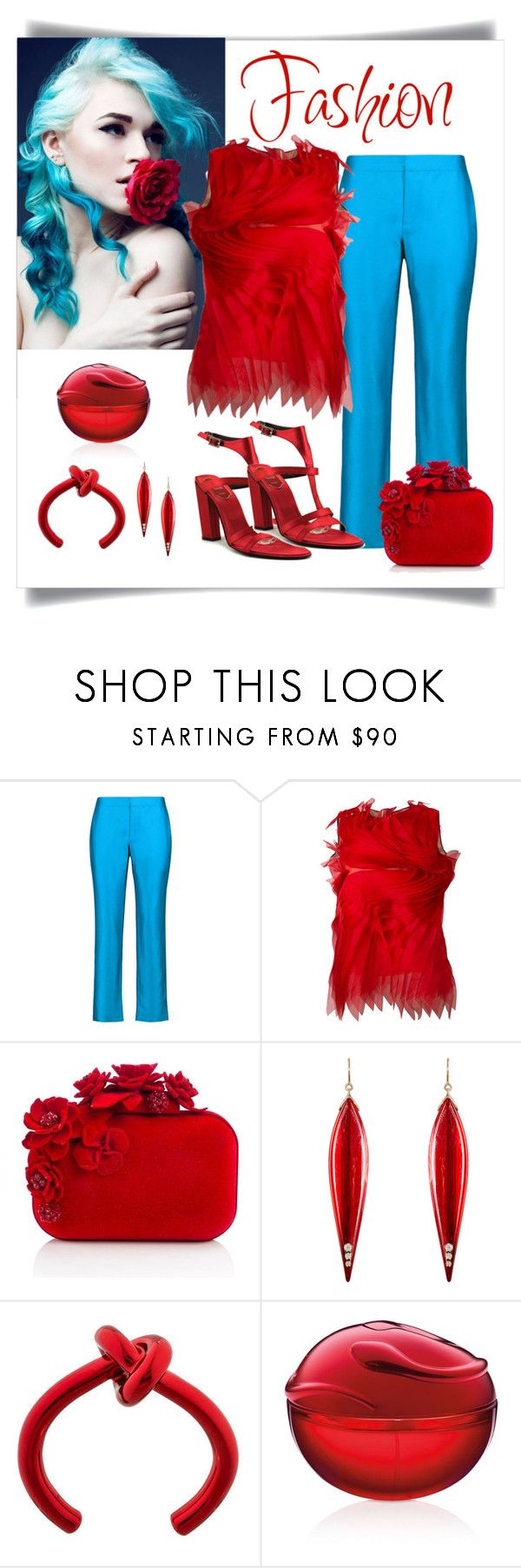 """Gianluca Capannolo Isabella Red Top Look"" by romaboots-1 ❤ liked on Polyvore featuring Raoul, Gianluca Capannolo, Jimmy Choo, Mark Davis, DKNY and Roger Vivier"