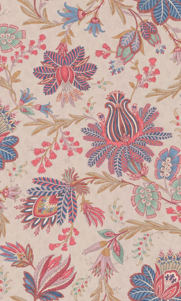 Casimir Red / Blue wallpaper by Colefax and Fowler