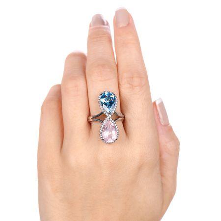 Anel de Prata com Gotas de Quartzo Rosa e de Topázio Azul