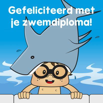 Geslaagd kaarten - Gefeliciteerd zwemdiploma A B C haai