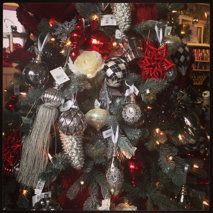 Masculine Christmas Decorating Ideas ~ #manlychristmas ~ black red and  silver Christmas Tree theme ~