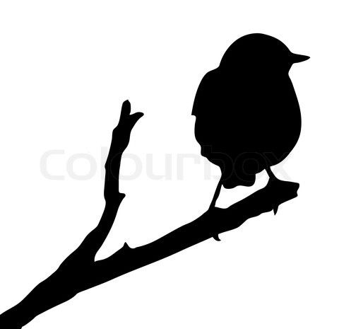 Printable Bird On Branch Silhouette | Stock vector of 'vector silhouette of the bird on branch'