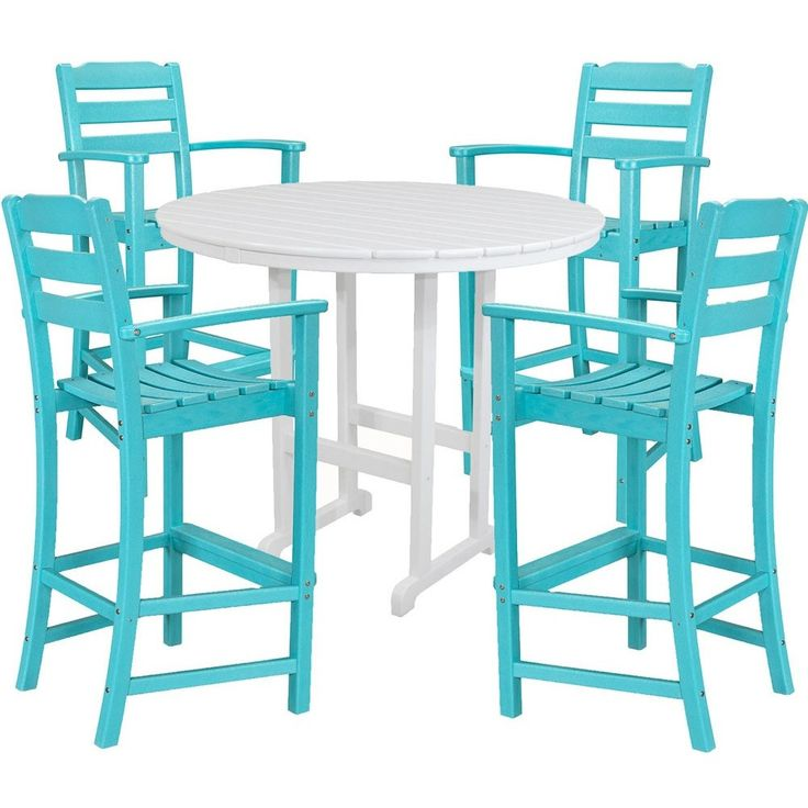 Hanover All-Weather Nassau 5pc Bar Set: 4 Bar Arm Chairs, 1 Bar Table - Aruba
