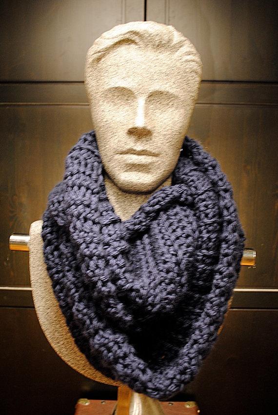 Crochet Infinity Scarf - Chunky, Warm, Navy Blue Infinity Circle Scarf