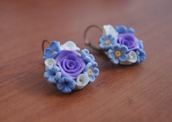 Orecchini fiori viola e azzurro orecchini fimo di CreazioniBB