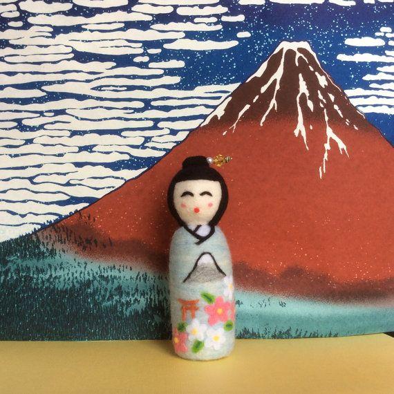 Kiyoko handmade needle felted Japanese kokeshi by SweetPeaDolls