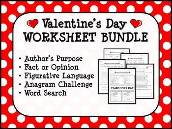 This worksheet bundle features the following five Valentine's Day worksheets:1. ANAGRAM CHALLENGE WORKSHEETUsing the letters in VALENTINE'S DAY, students must answer a set of clues for words of different lengths. Example: a young boy (lad)a knob on an appliance (dial)to take without asking (steal)2.