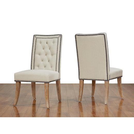 TOV Furniture Garrett Beige Linen Dining Chair-Set of 2