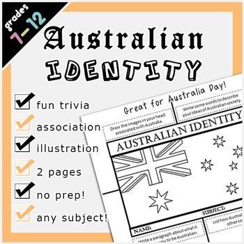 australian identity trivia questions and worksheets