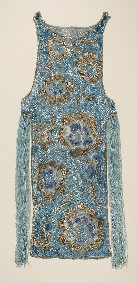 Dress, Evening.  House of Worth (French, 1858–1956).  Date: ca. 1924. Culture: French. Medium: cotton, plastic, glass. Dimensions: Length at CB: 42 in. (106.7 cm).