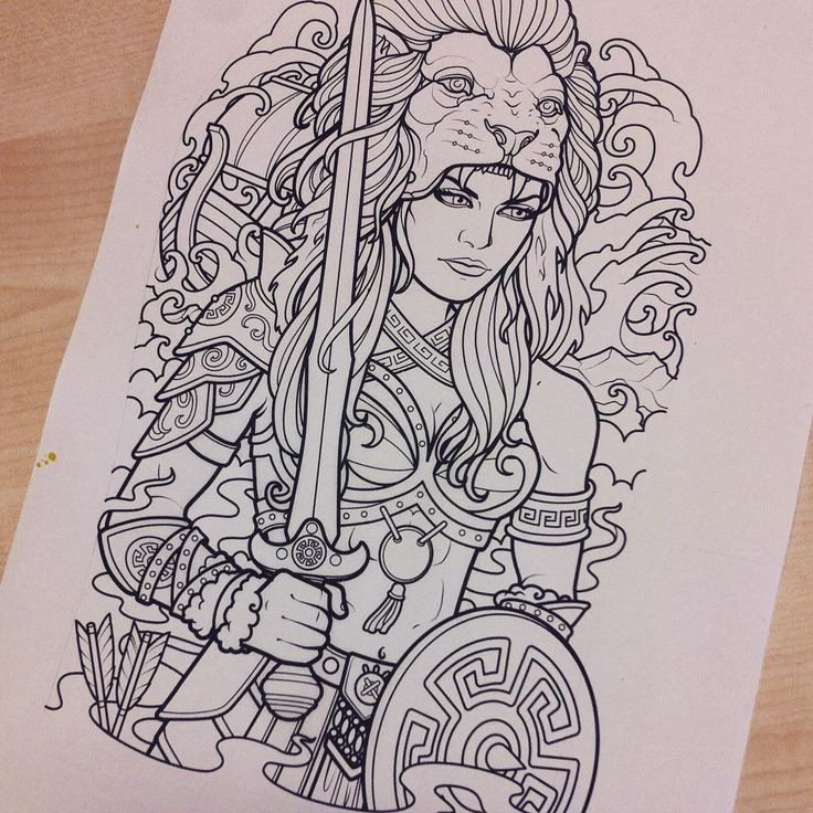 """My progress on a full half sleeve tattoo design for Justin Lema. He asked for a female version of Hercules with a lion headdress with leather armor and of…"""