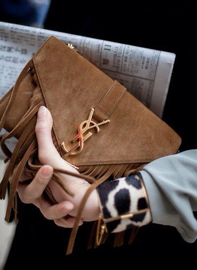 Saint Laurent suede bag and Céline leopard bracelet #SaintLaurent