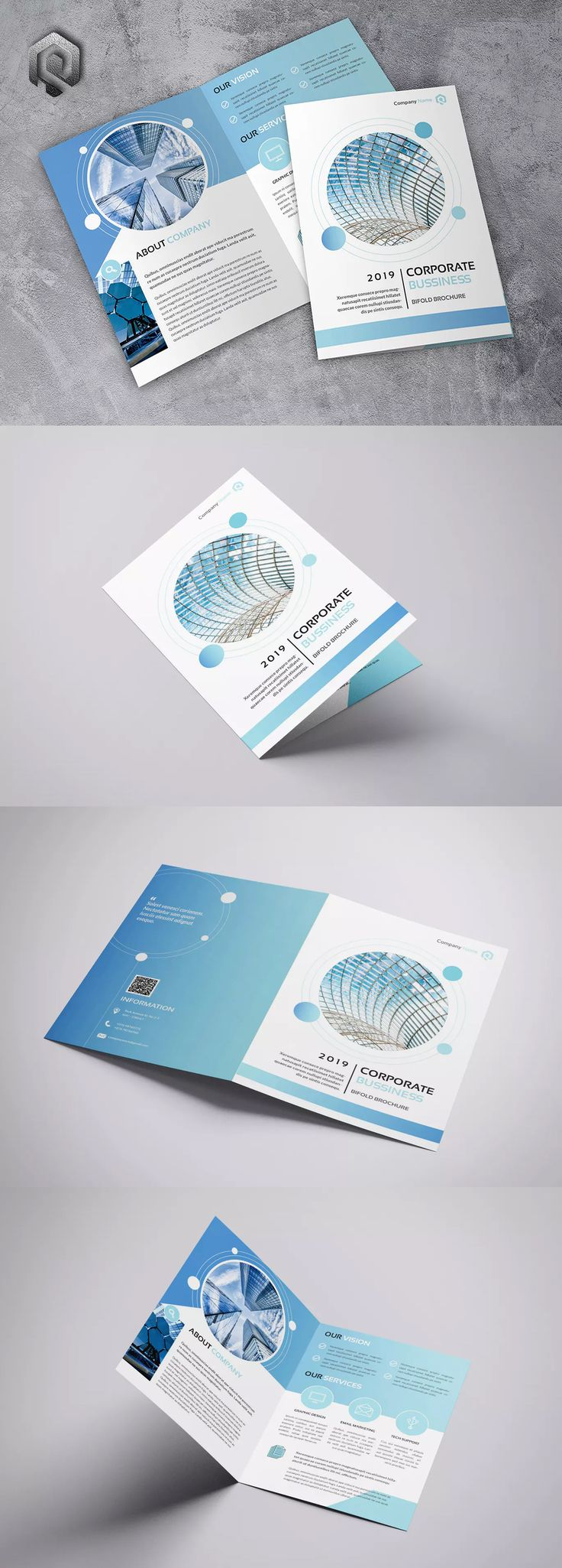 Company Technology Bifold Brochure Template InDesign INDD