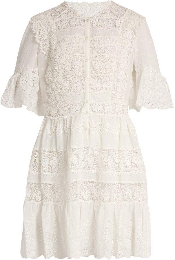 Rebecca Taylor Lace-Trimmed Cotton-Voile Dress | Estilo ...