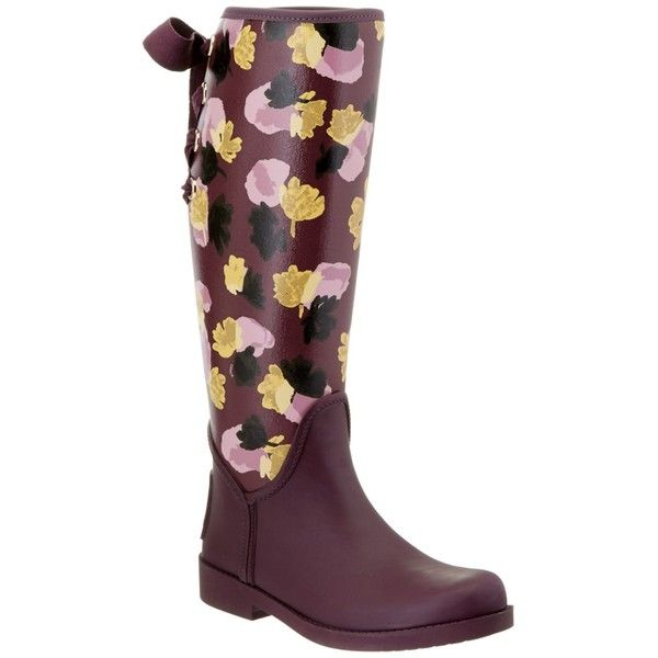 Coach Coach Tristee Rain Boot ($104) ❤ liked on Polyvore featuring shoes, boots, knee-high boots, purple, knee high laced boots, wellington boots, knee-high lace-up boots, rubber rain boots and rubber sole boots