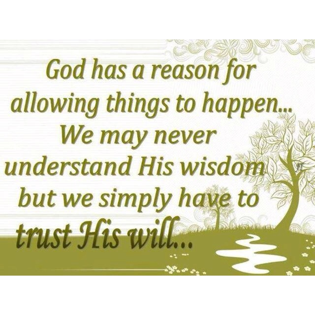 God has a reason for allowing things to happen . . . We may never understand His wisdom but we simply have to trust His will . . .: Sayings, Quotes, Faith, Trust, Wisdom, Inspirational