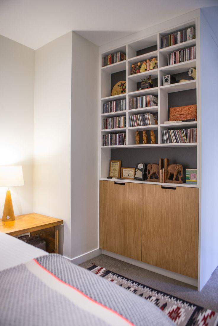 Furniture 601. Sally Steer Design Ltd. Wellington, New Zealand. Bedroom storage in white with Oak plywood doors.