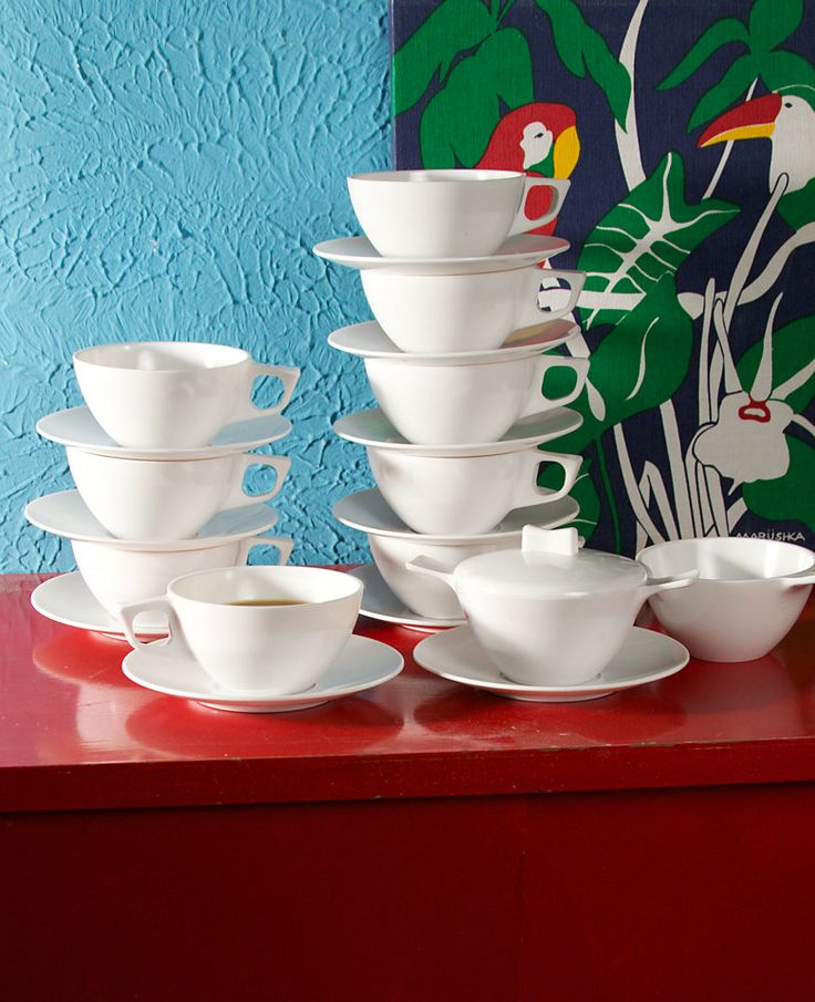 Retro Plastic / Melmac Coffee or Tea Cups / Creamer and Sugar Dish / White / Set of 9 Cups and 10 Saucers