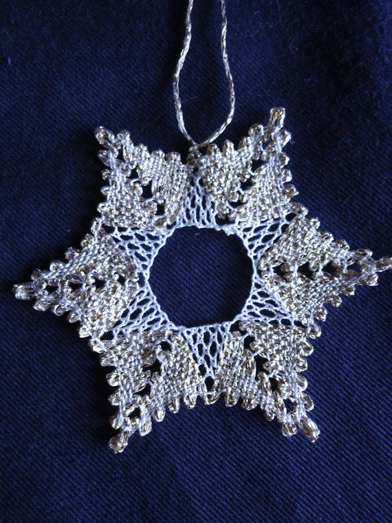 Bobbin lace Christmas snowflake star decoration by ThymeCrafts -- No pattern