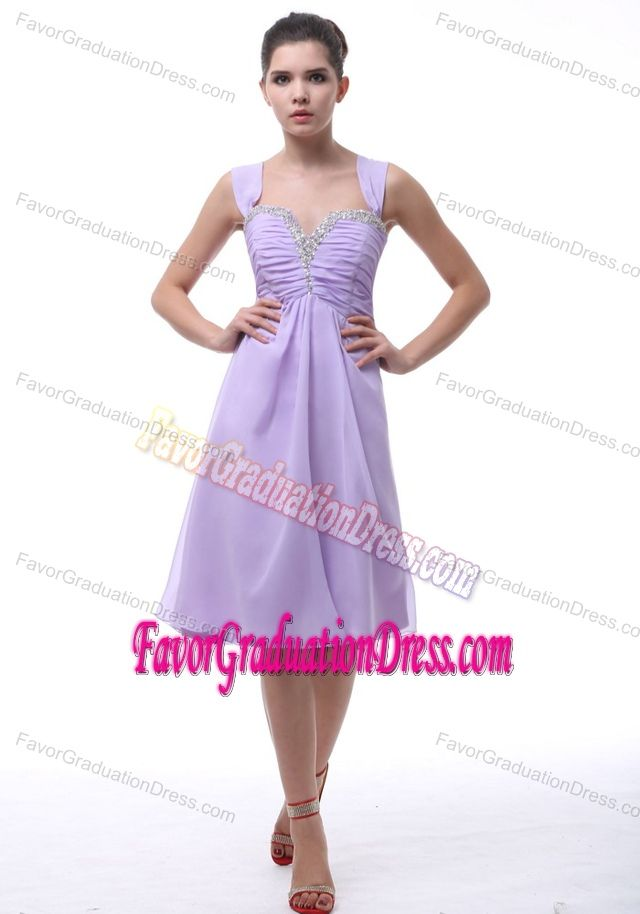 Lavender Beaded Knee Length 5th Grade Graduation Dresses With Ruches