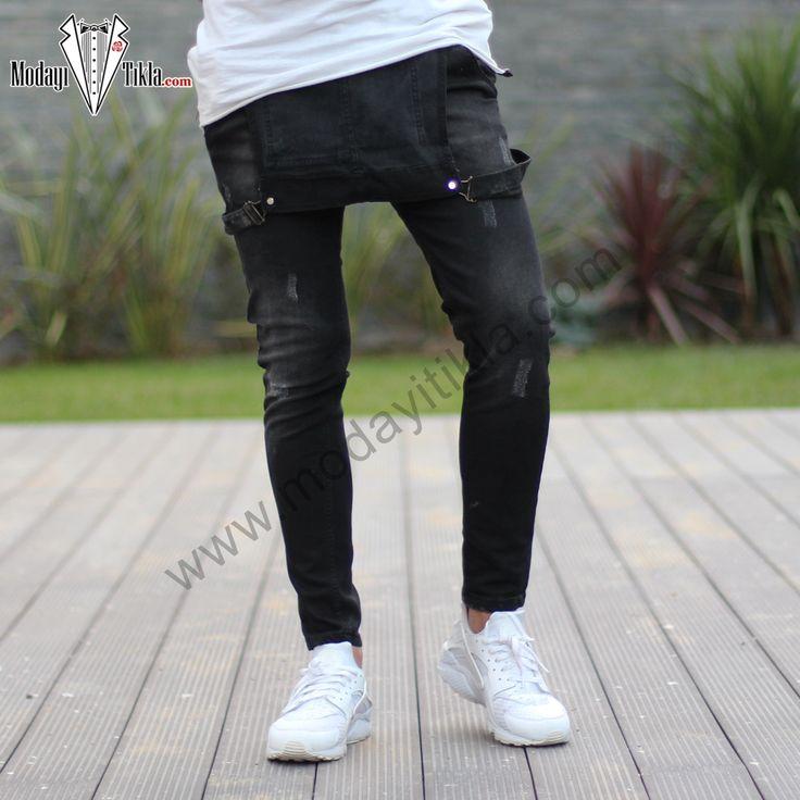 Erkek Kot Tulum Siyah Taşlamalı Jeans