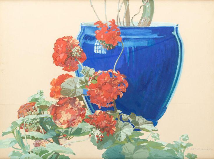 PIOTR STACHIEWICZ (1858 - 1938)  KWIAT   gwasz, papier / 50x65,5 cm