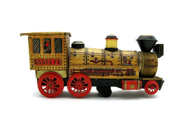 Old Toy Trains : Vintage s santa fe toy train tin litho steam engine
