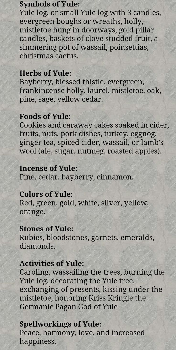 Yule Symbols Herbs Foods Incense Colors Stones Crystals Activities Spells