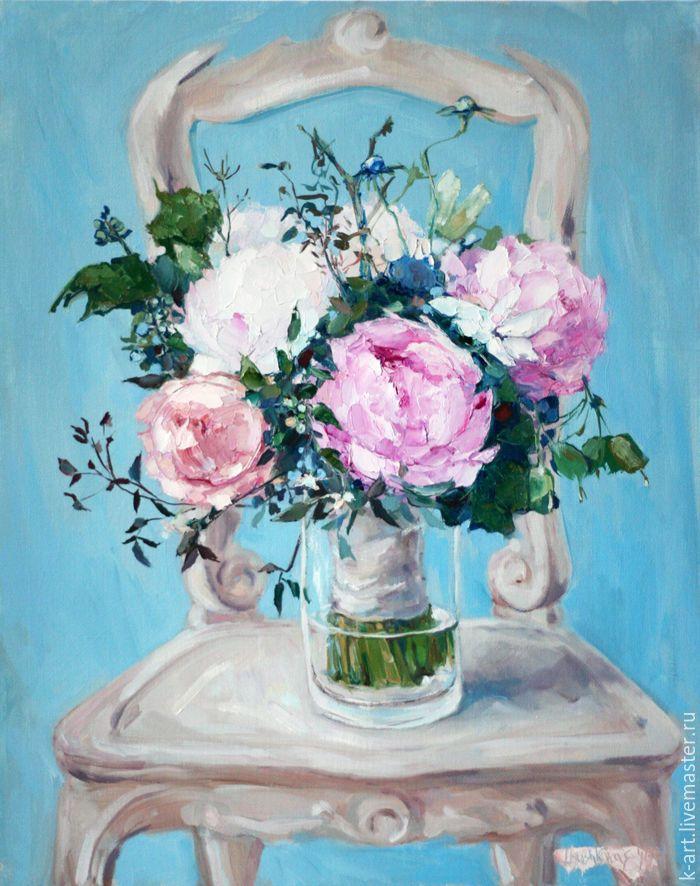 Натюрморт цвета слоновой кости - бирюзовый, ilyushkina, artkatu, розовый, пионовый, необычный букет