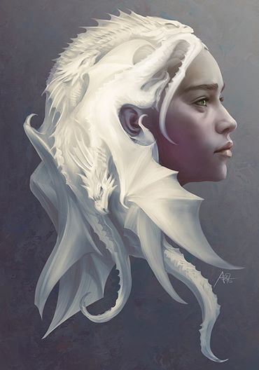 Gorgeous Daenerys Targaryen fanart | Game of Thrones (I don't watch the show but I love dragons and the artwork is beautiful)