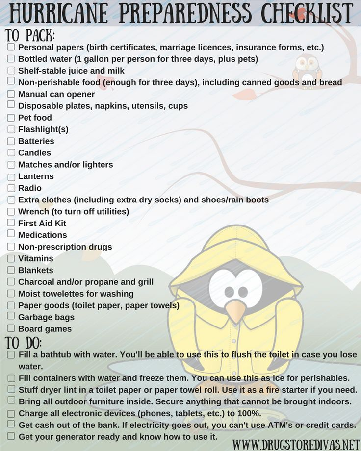 Are you in the path of a hurricane? Get prepared with this Hurricane Preparedness Checklist from www.drugstoredivas.net.