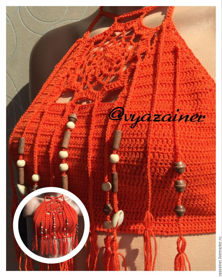 Купить Вязаный купальник в стиле бохо - рыжий, Вязаный купальник, вязанный купальник