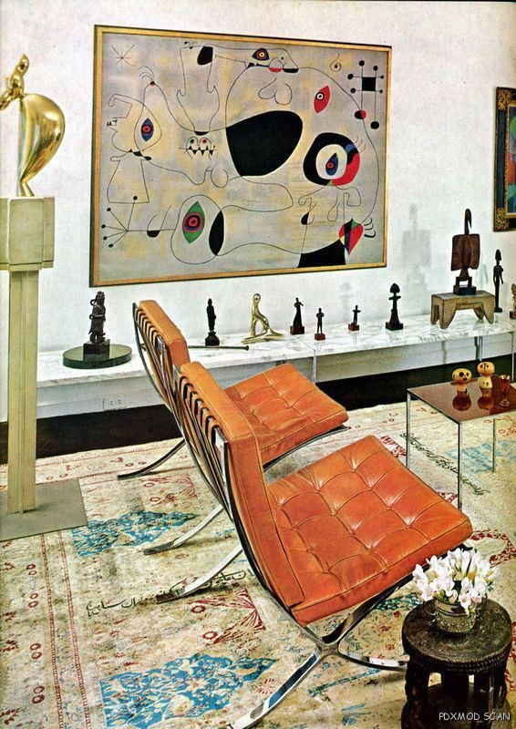 Well.....to be lucky enough to have a Miro painting in your living room! (Barcelona Chair, Mies van der Rohe)