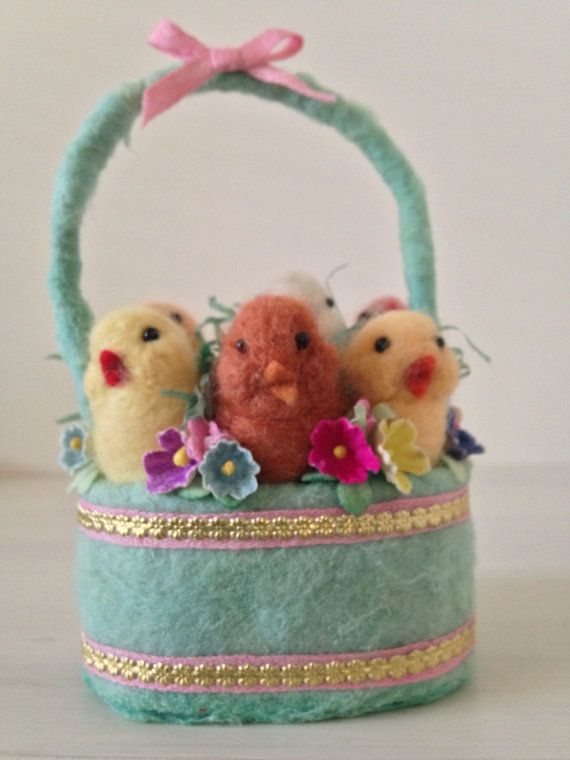 Spun Cotton and Needle Felted Basket of Chicks by by MRCROWSGARDEN, $49.99