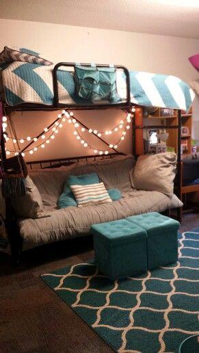 My freshman dorm room with futon at Belden-Racine Hall at DePaul University!