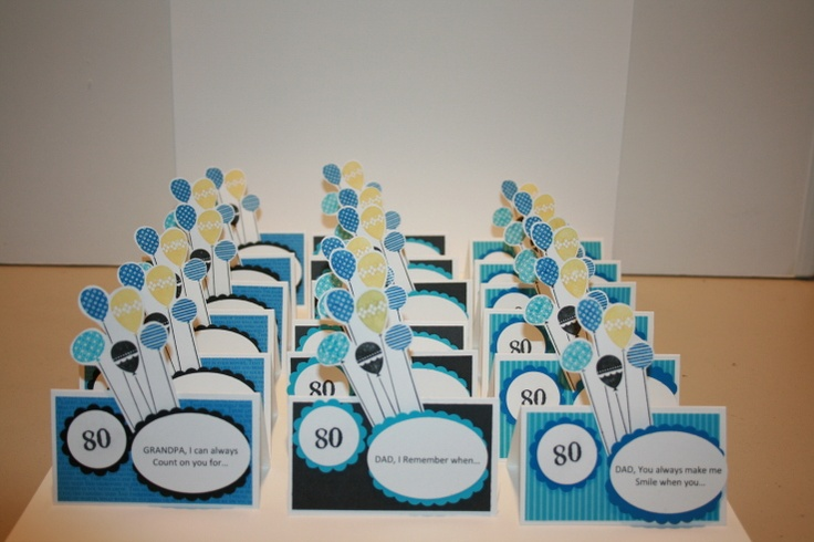 80th Birthday Placecards Birthday Cards Place Cards