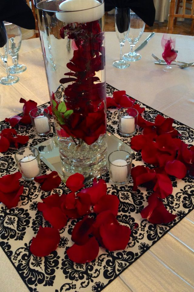 37 Best Red Black And White Centerpieces Images On