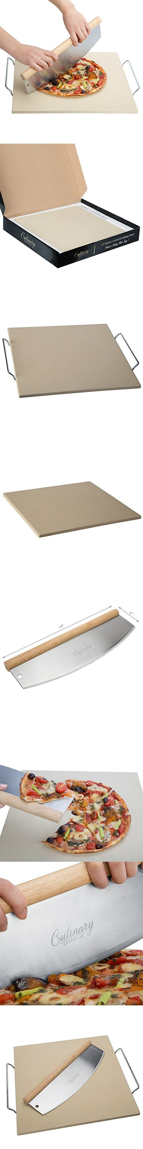 Culinary Expertise Cordierite Pizza Stone, 15 Inch Square with 14 Inch Cutter and Removable Chrome Handles | Thermal Shock Resistant on Oven or Grill Top