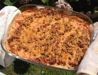 Receta de Espaguetis gratinados a la boloñesa